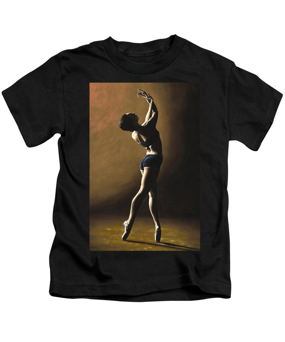 Dance Dancer Dancing Modern Female Woman Lady Girl Pointe Shadow Light Beauty Beautiful Young Art Kids T-Shirt featuring the painting Inner Sanctuary by Richard Young