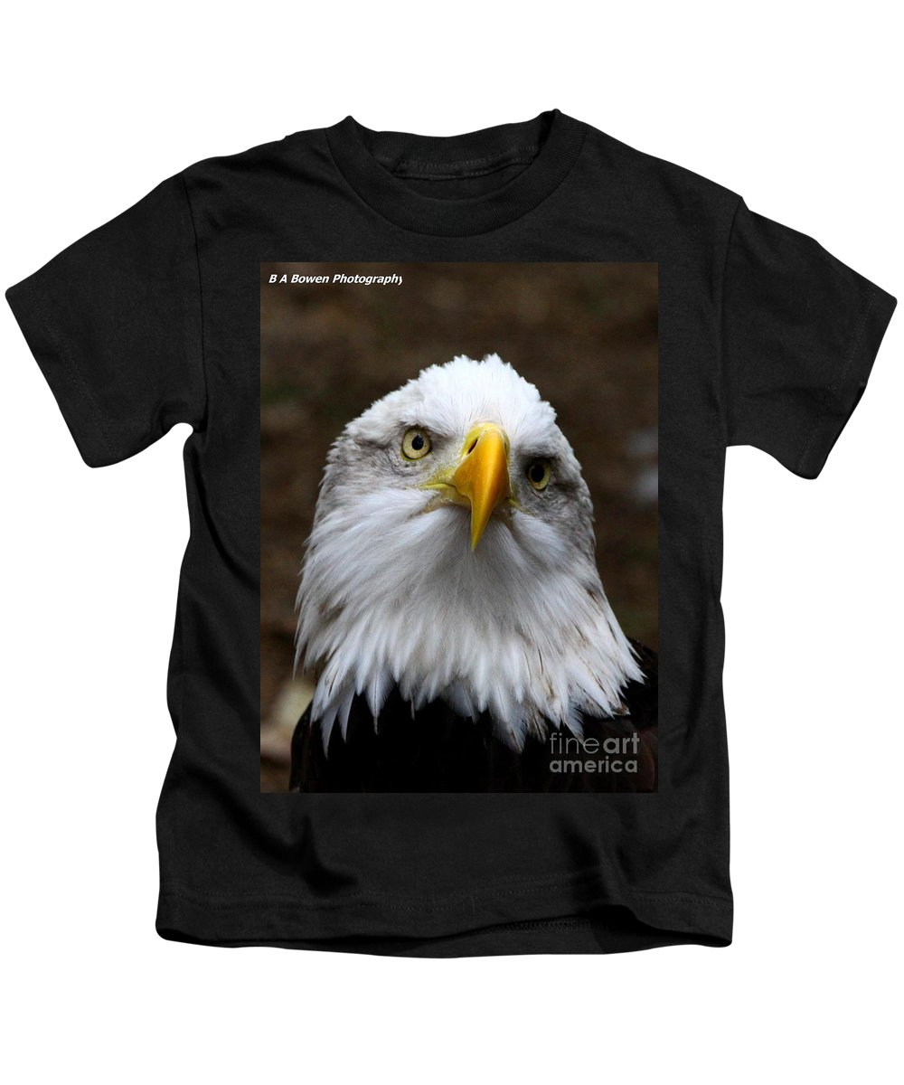 American Bald Eagle Kids T-Shirt featuring the photograph Inquisitive Eagle by Barbara Bowen