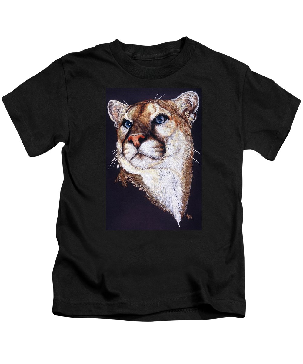 Cougar Kids T-Shirt featuring the drawing Intense by Barbara Keith