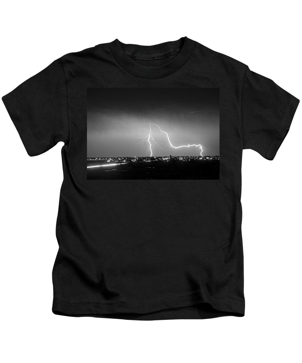 Lightning Kids T-Shirt featuring the photograph Intersection Black And White by James BO Insogna