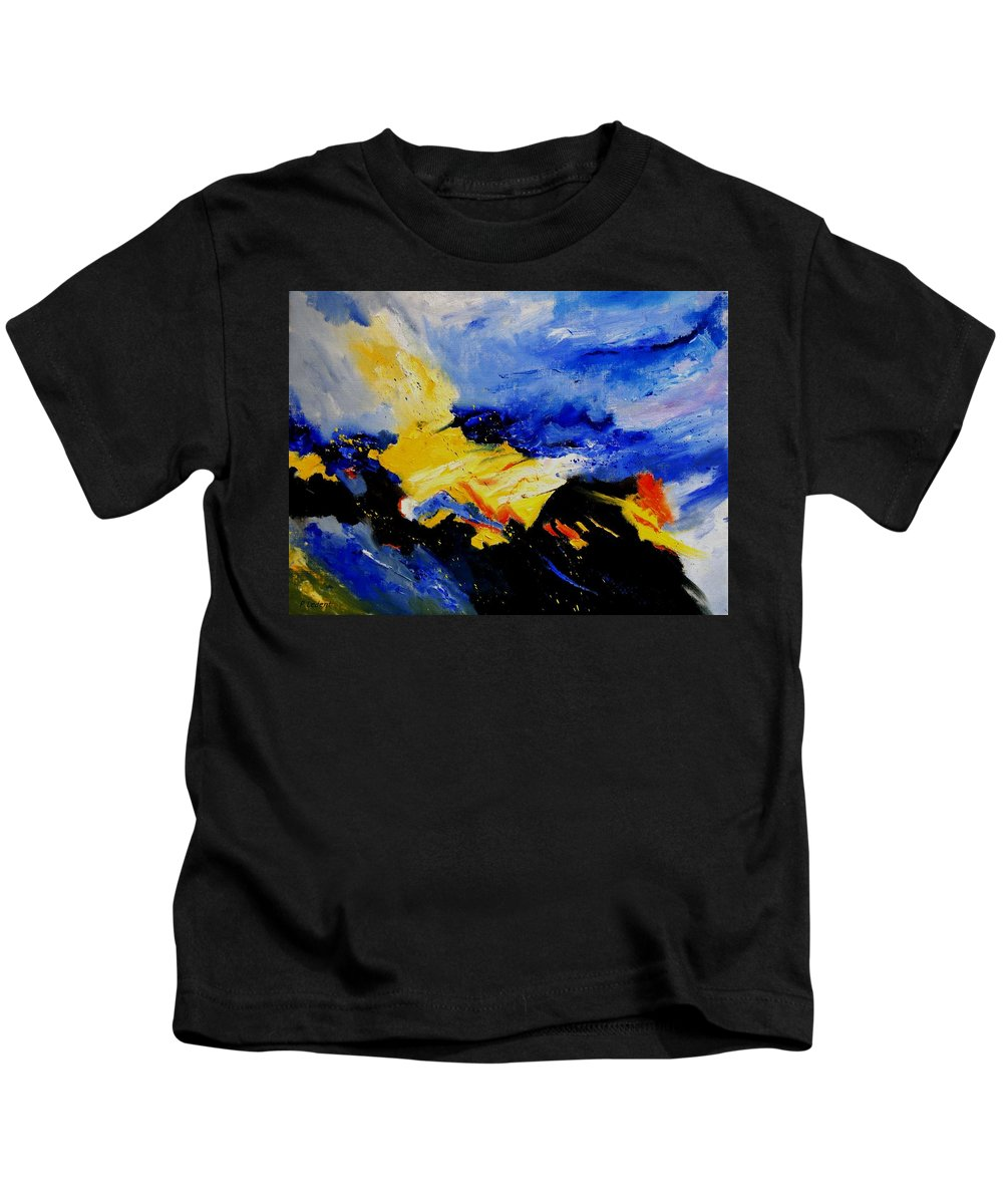Abstract Kids T-Shirt featuring the painting Interstellar Overdrive 2 by Pol Ledent