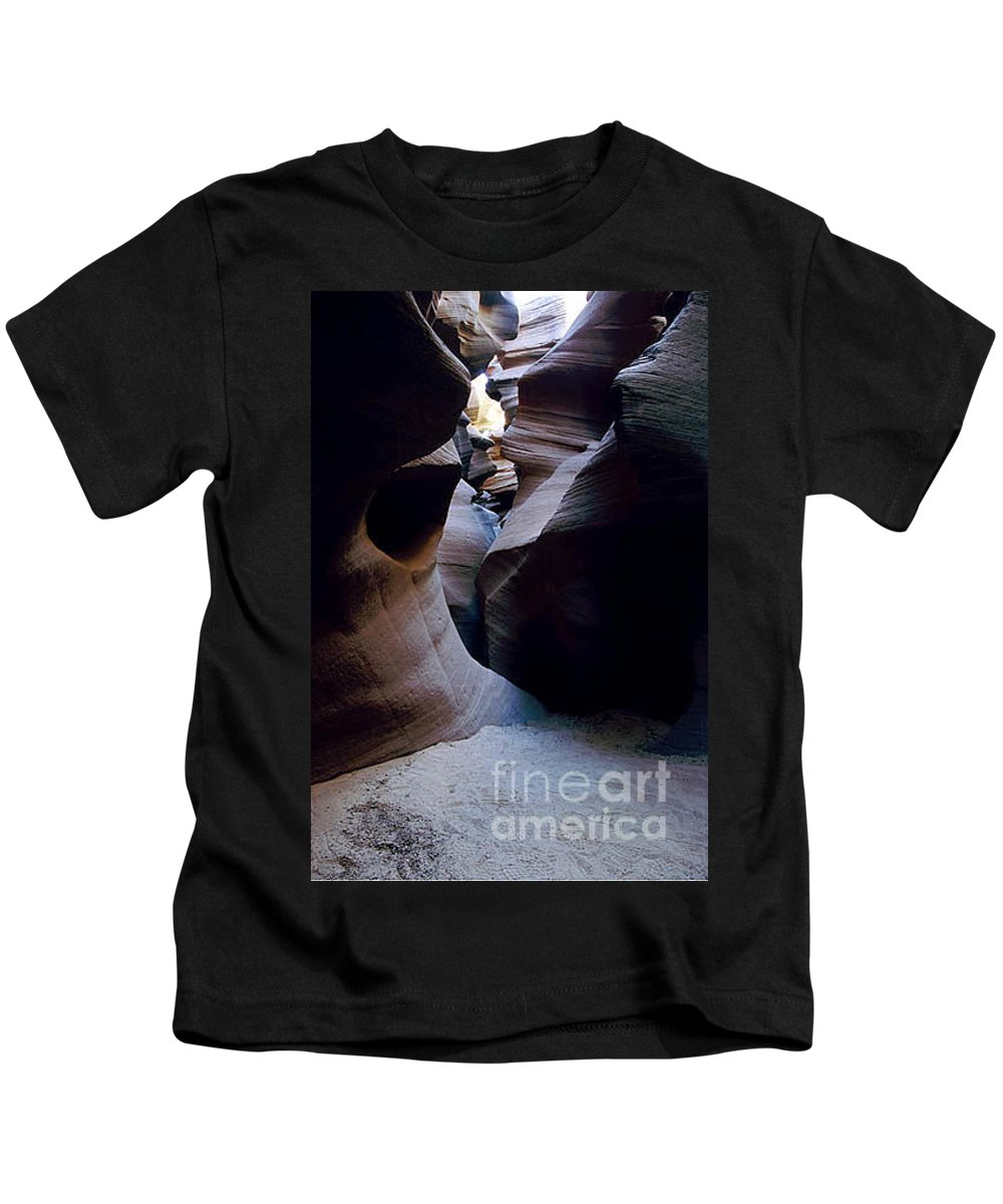 Slot Canyons Kids T-Shirt featuring the photograph Into The Depths by Kathy McClure