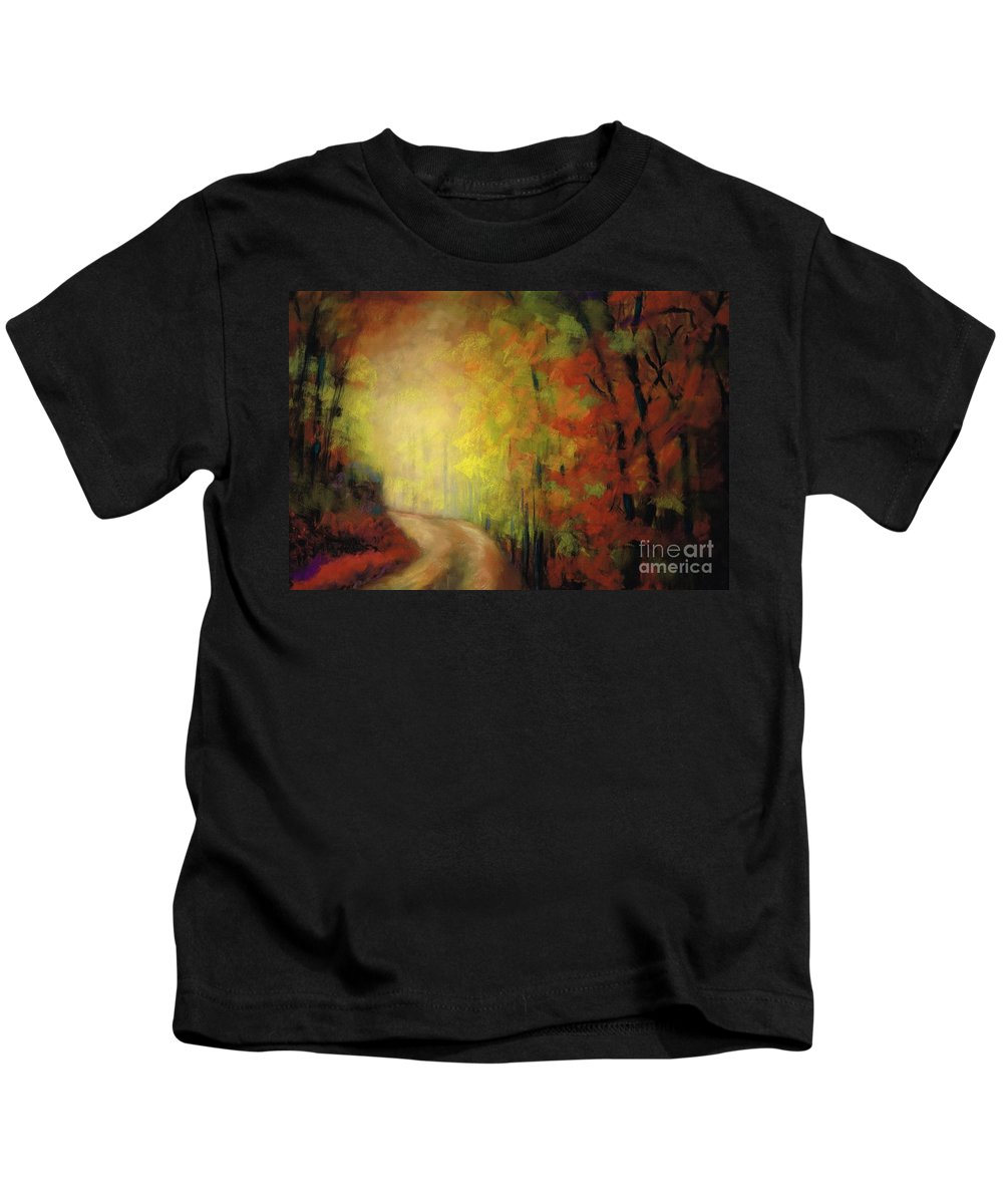Landscape Kids T-Shirt featuring the painting Into The Light by Frances Marino