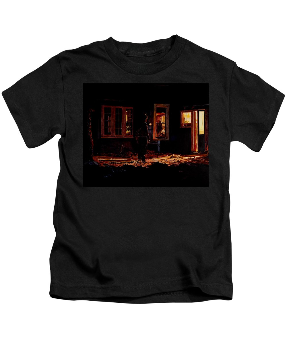 Night Kids T-Shirt featuring the painting Into The Night by Valerie Patterson