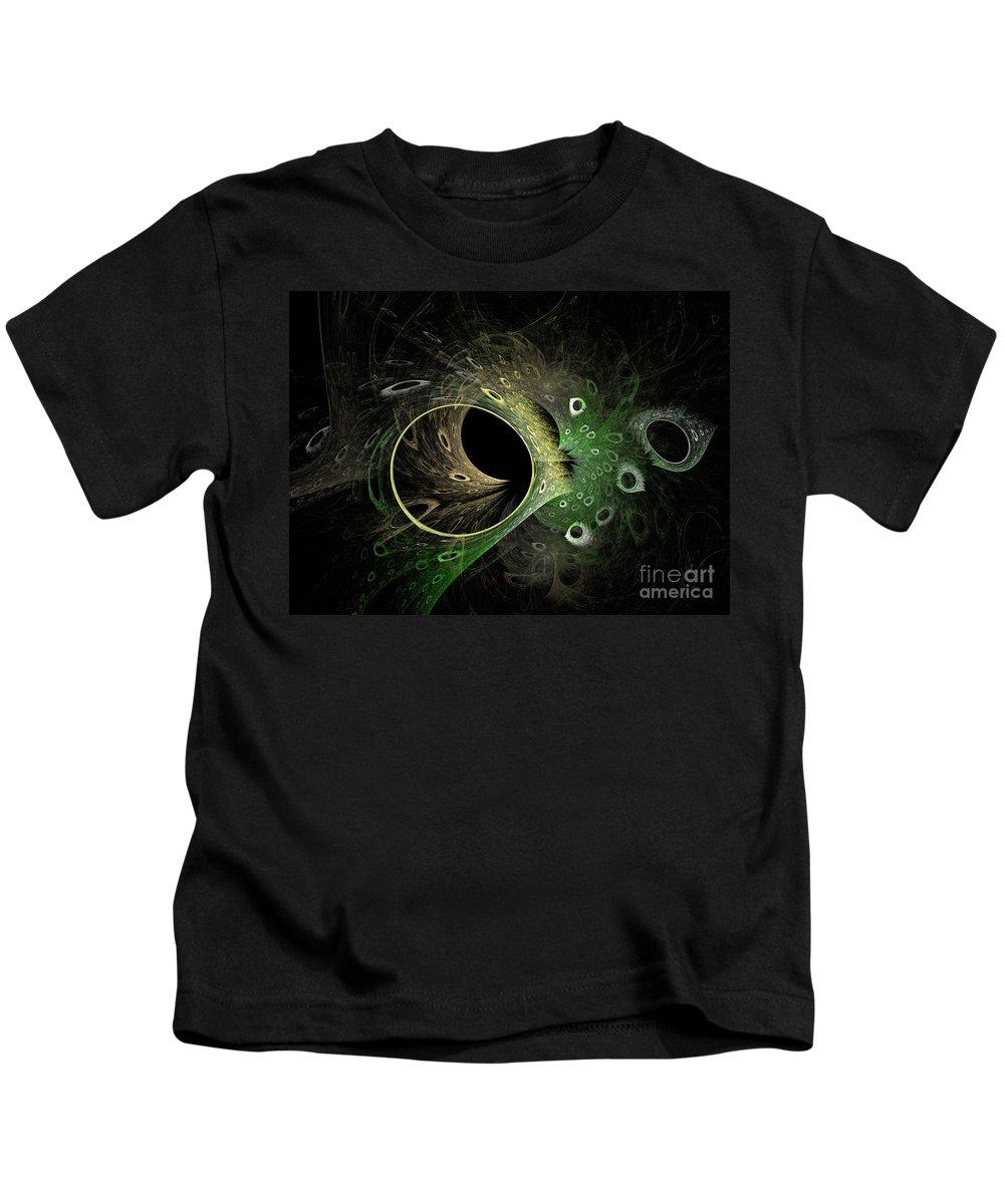 Fractal Kids T-Shirt featuring the digital art Into The Vortex by Deborah Benoit