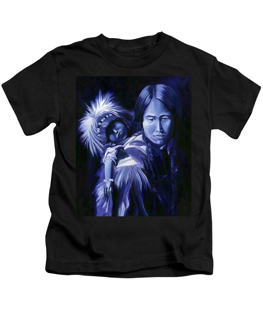 Native American Kids T-Shirt featuring the painting Inuit Mother And Child by Nancy Griswold