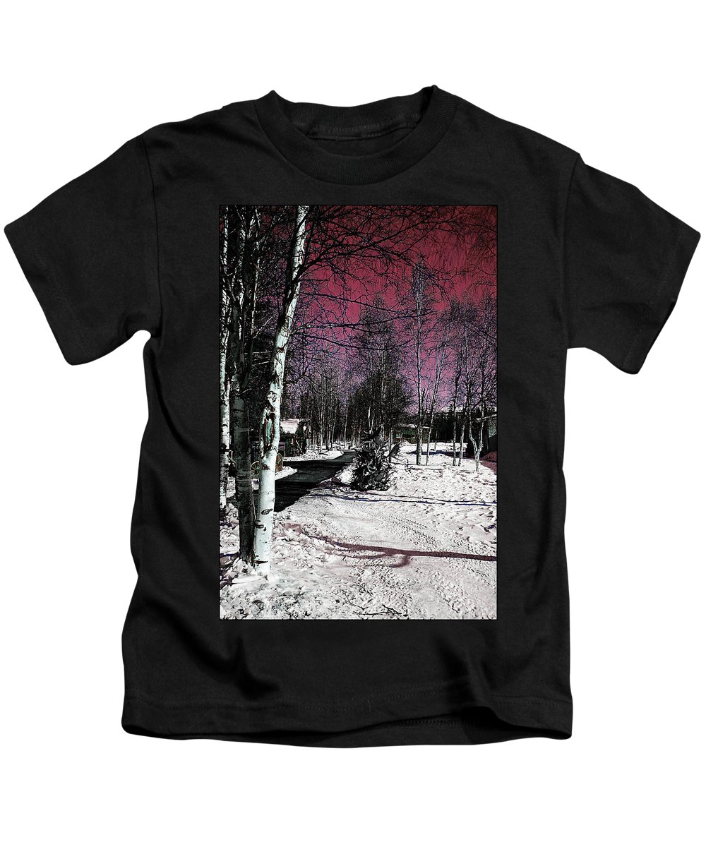 Winter Snow Red White Trees Fairbanks Alaska Kids T-Shirt featuring the photograph Invernal Landscape by Galeria Trompiz