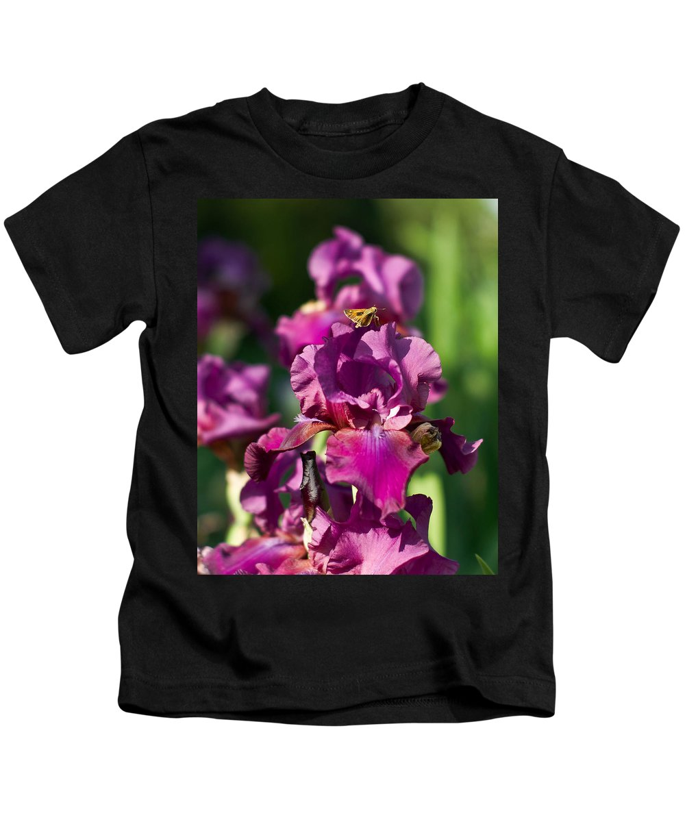Kids T-Shirt featuring the photograph Iris And Moth by Rod Lindley