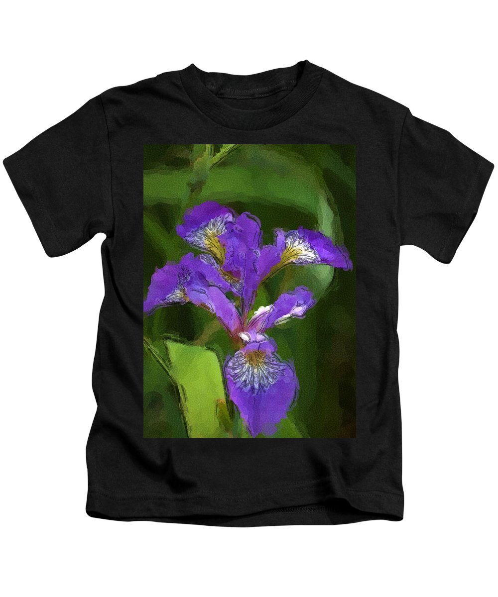 Digital Photograph Kids T-Shirt featuring the photograph Iris II by David Lane