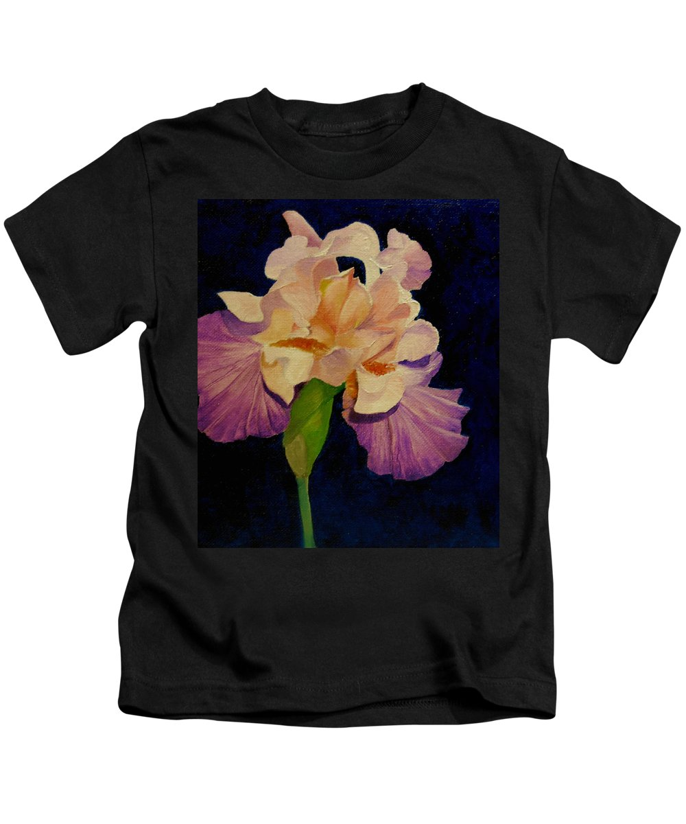 Floral Kids T-Shirt featuring the painting Iris by Peggy Guichu