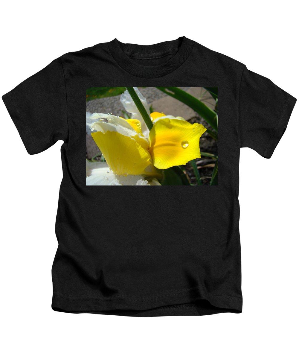 �irises Artwork� Kids T-Shirt featuring the photograph Irises Artwork Iris Flowers Art Prints Flower Rain Drops Floral Botanical Art Baslee Troutman by Baslee Troutman