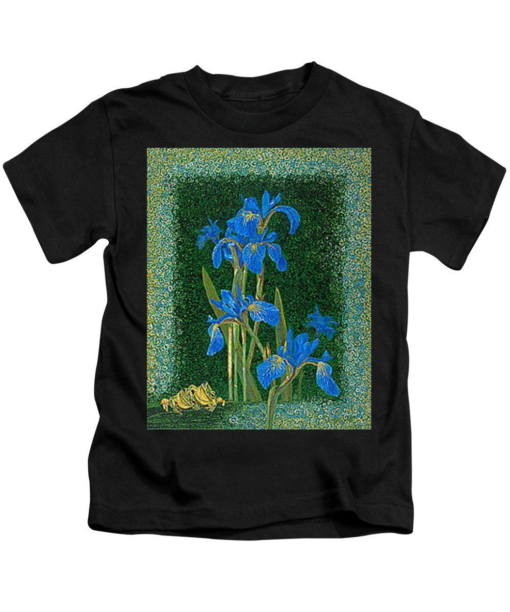Irises Kids T-Shirt featuring the painting Irises Blue Flowers Lucky Love Frog Friends Fine Art Print Giclee High Quality Exceptional Colors by Baslee Troutman