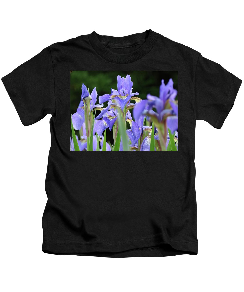 Iris Kids T-Shirt featuring the photograph Irises Flowers Art Prints Blue Purple Iris Floral Baslee Troutman by Baslee Troutman
