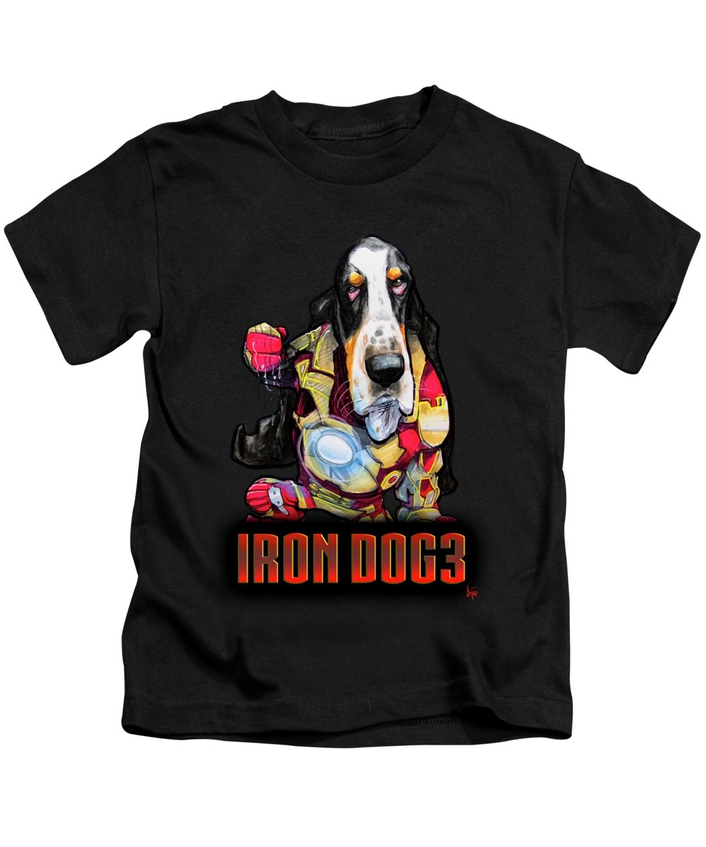 Basset Hound Kids T-Shirt featuring the drawing Iron Dog 3 by John LaFree