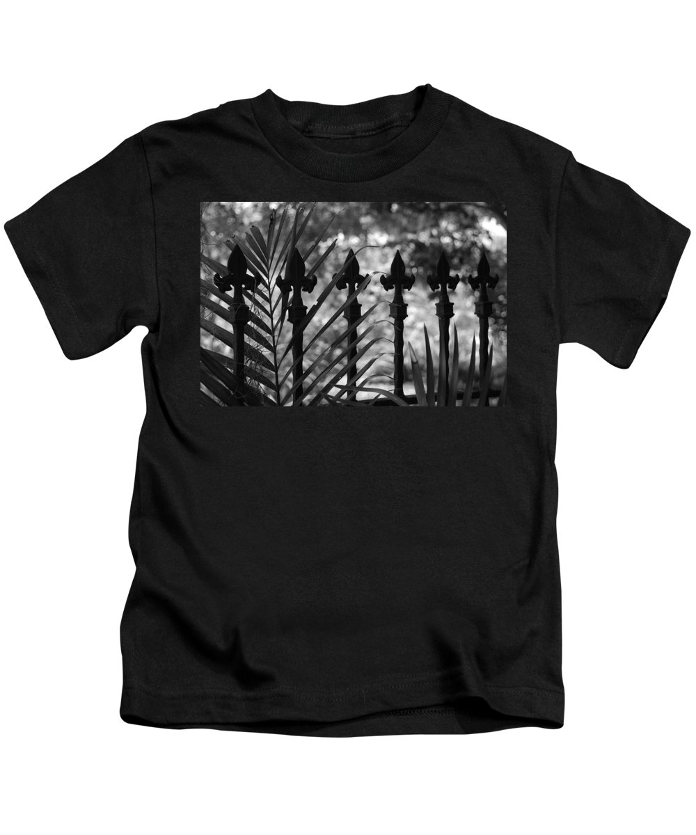 Wrought Iron Kids T-Shirt featuring the photograph Iron Fence by Rob Hans