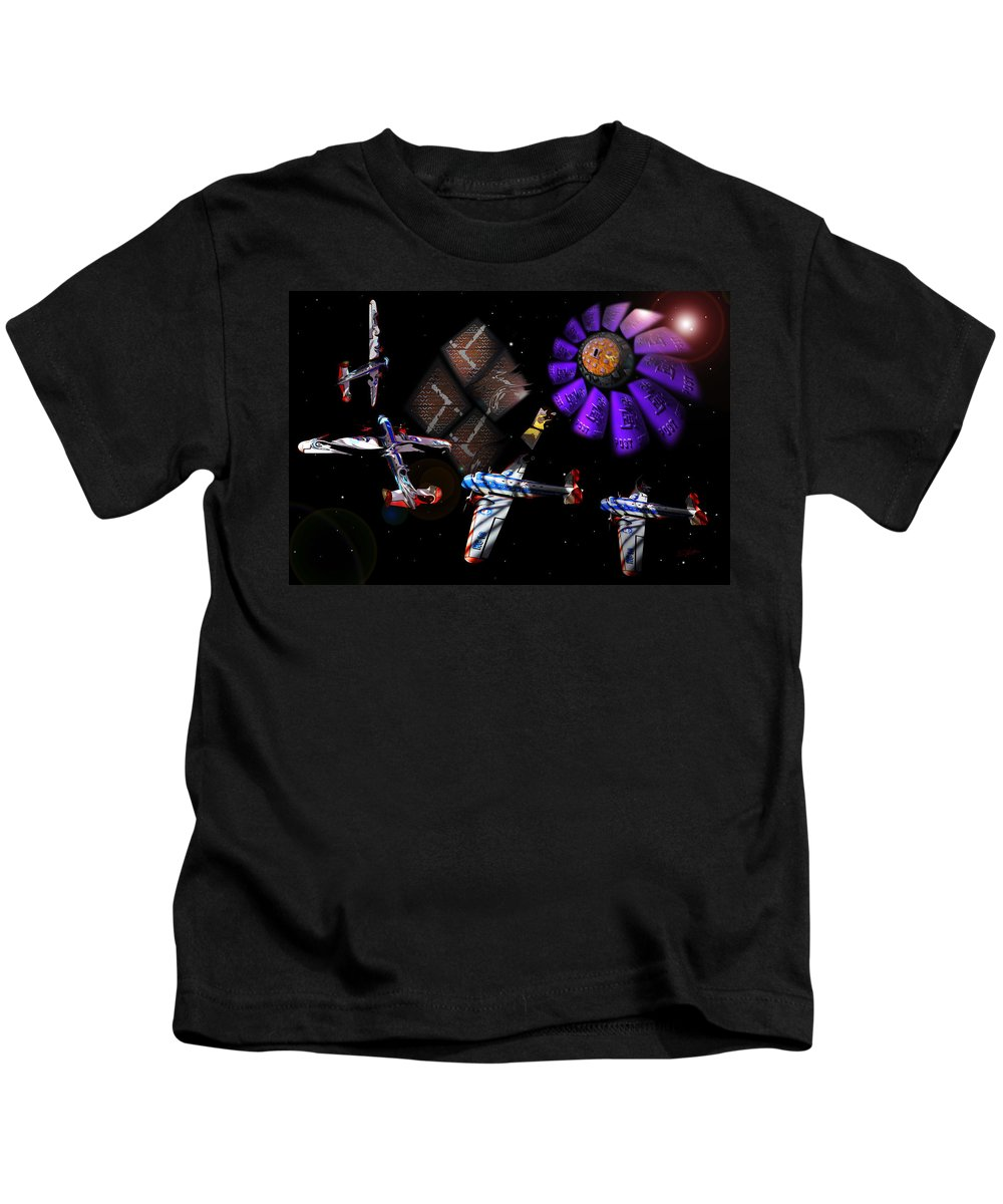 Outer Space Kids T-Shirt featuring the digital art Iron In The Sky by Charles Stuart