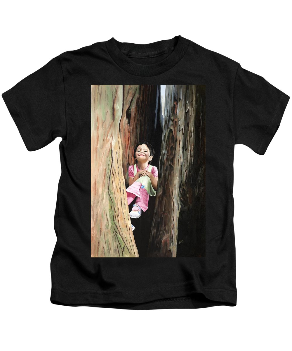 Girl Kids T-Shirt featuring the painting Isabella Of Kilkenny by Mary Rogers
