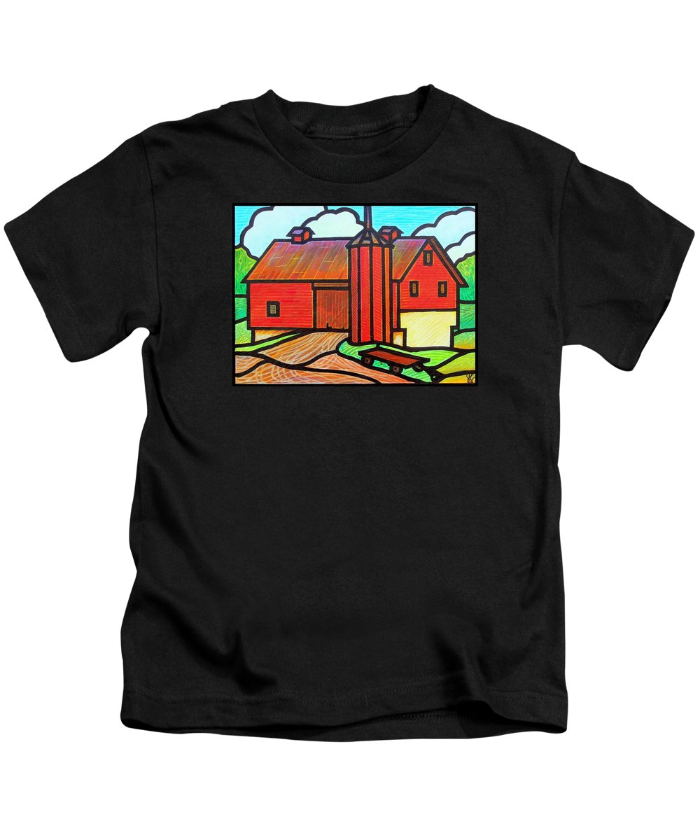 Barn Kids T-Shirt featuring the painting Island Ford Barn 2 by Jim Harris