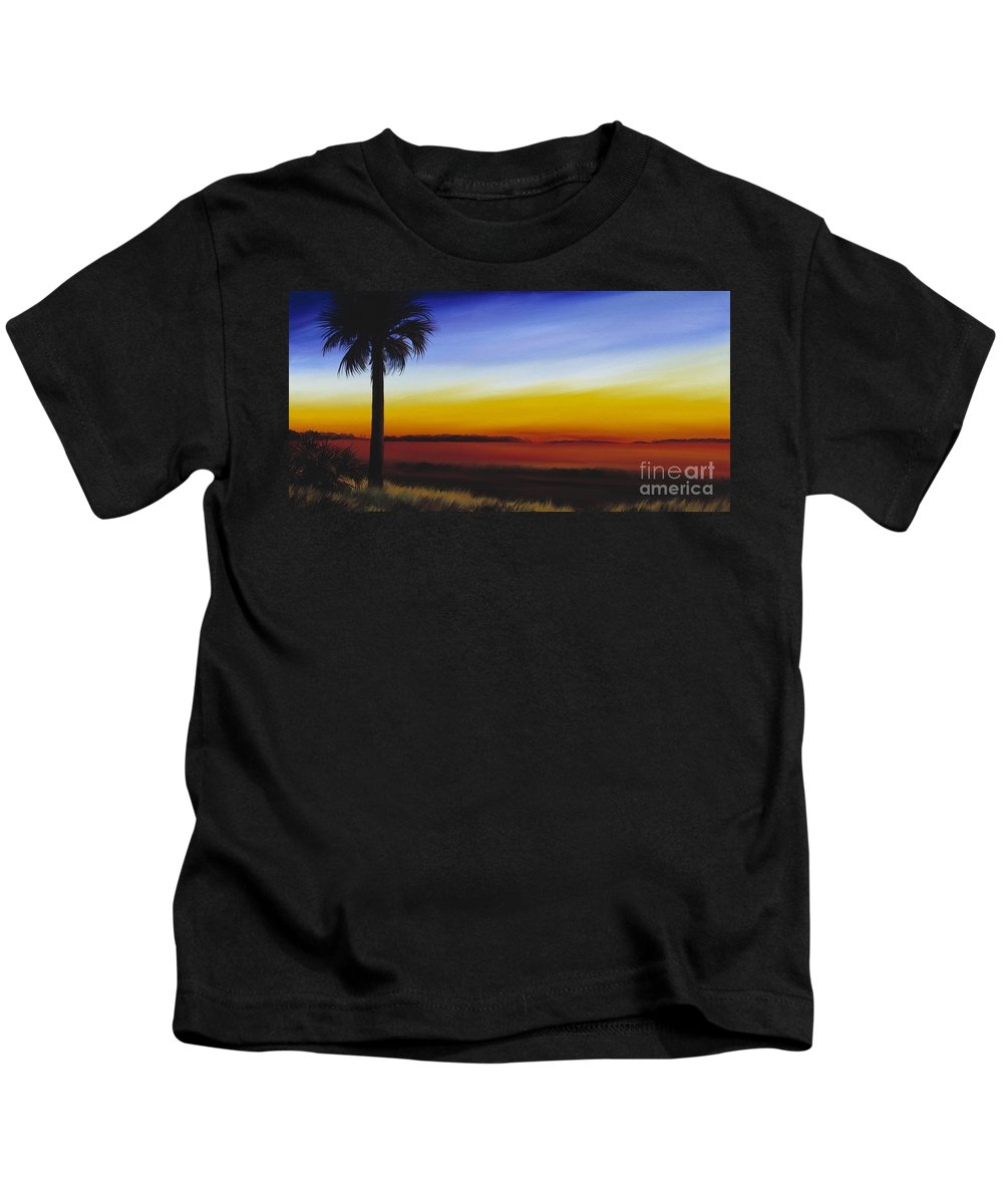 Palmetto Tree Kids T-Shirt featuring the painting Island River Palmetto by James Christopher Hill