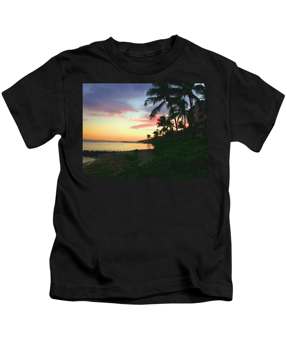 Sunset Kids T-Shirt featuring the photograph Island Sunset by Angie Hamlin