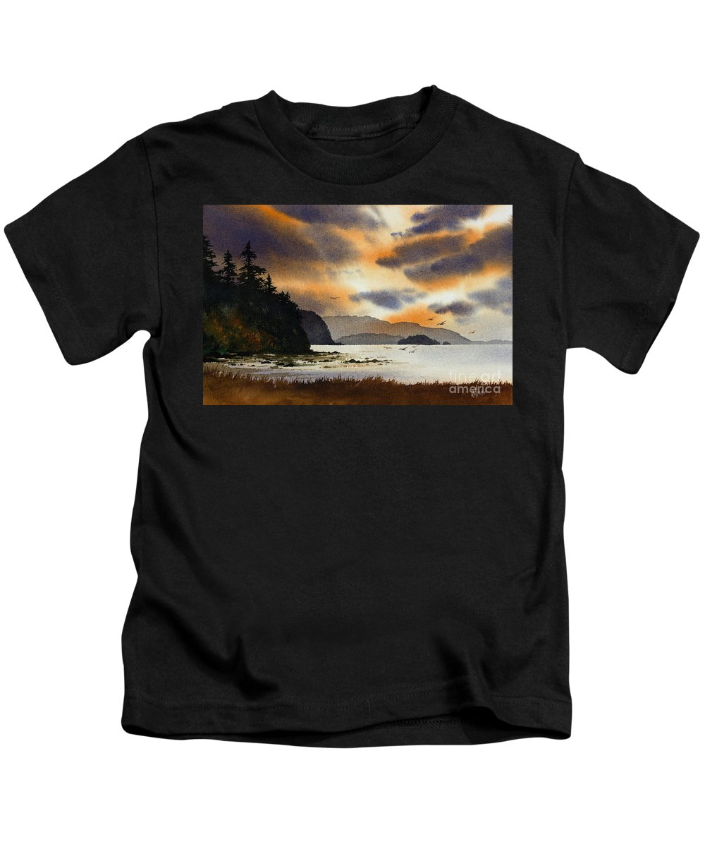 Islands. Island Kids T-Shirt featuring the painting Islands Autumn Sky by James Williamson