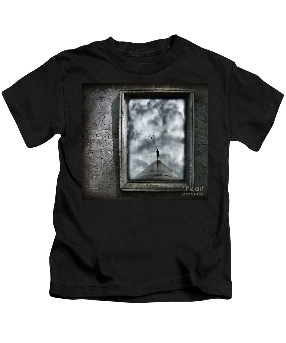 Dark Kids T-Shirt featuring the painting Isolation by Jacky Gerritsen