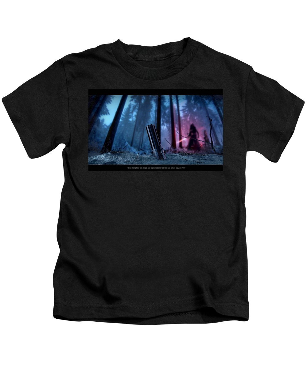 Star Wars Kids T-Shirt featuring the digital art It Calls To You Text 2 by Jayden Bell