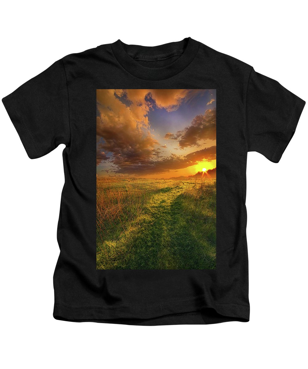 Sun Kids T-Shirt featuring the photograph It Hitches The Soul To The Stars by Phil Koch