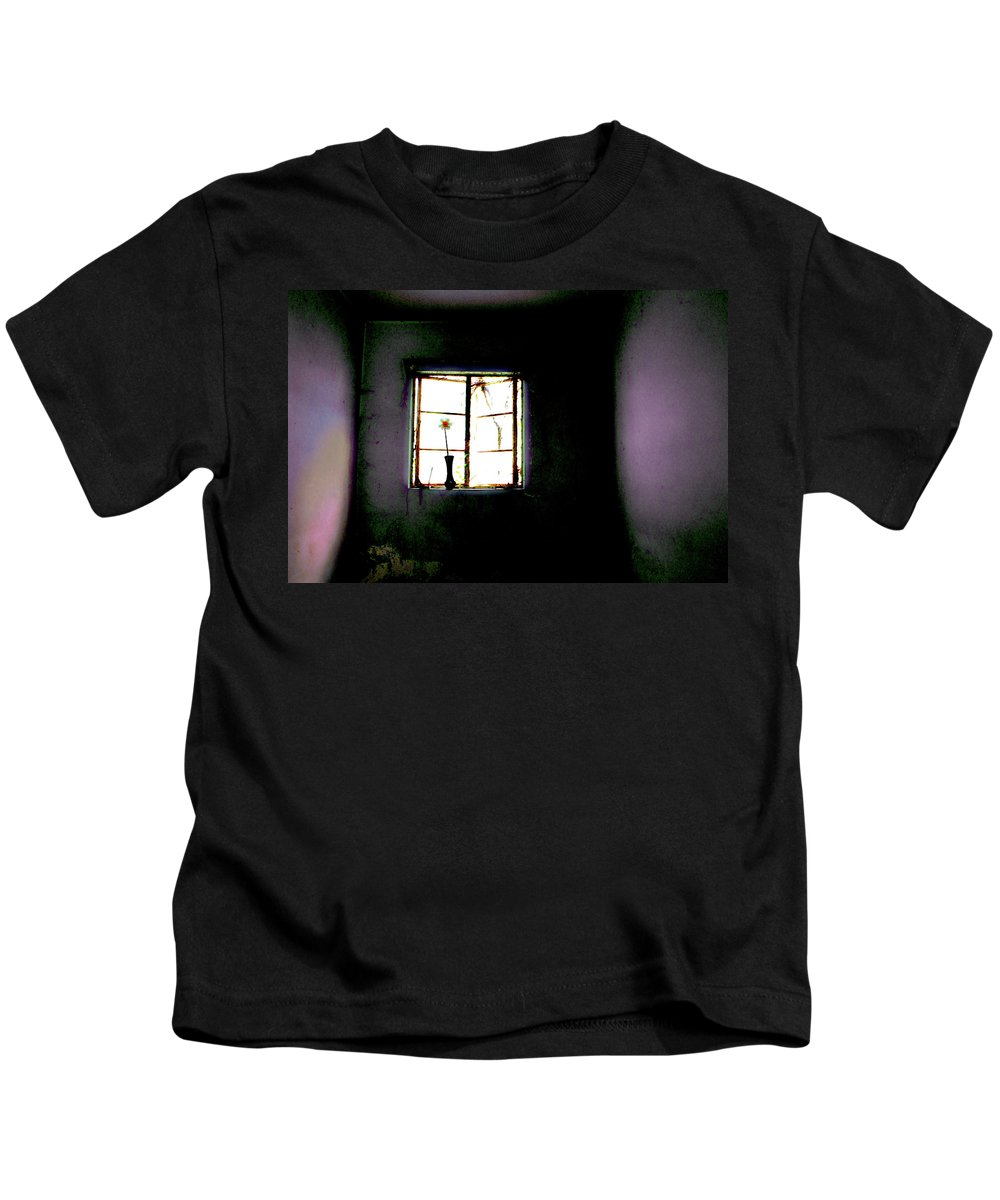 Dark Room Kids T-Shirt featuring the photograph It Was Her Room... by Gray Artus