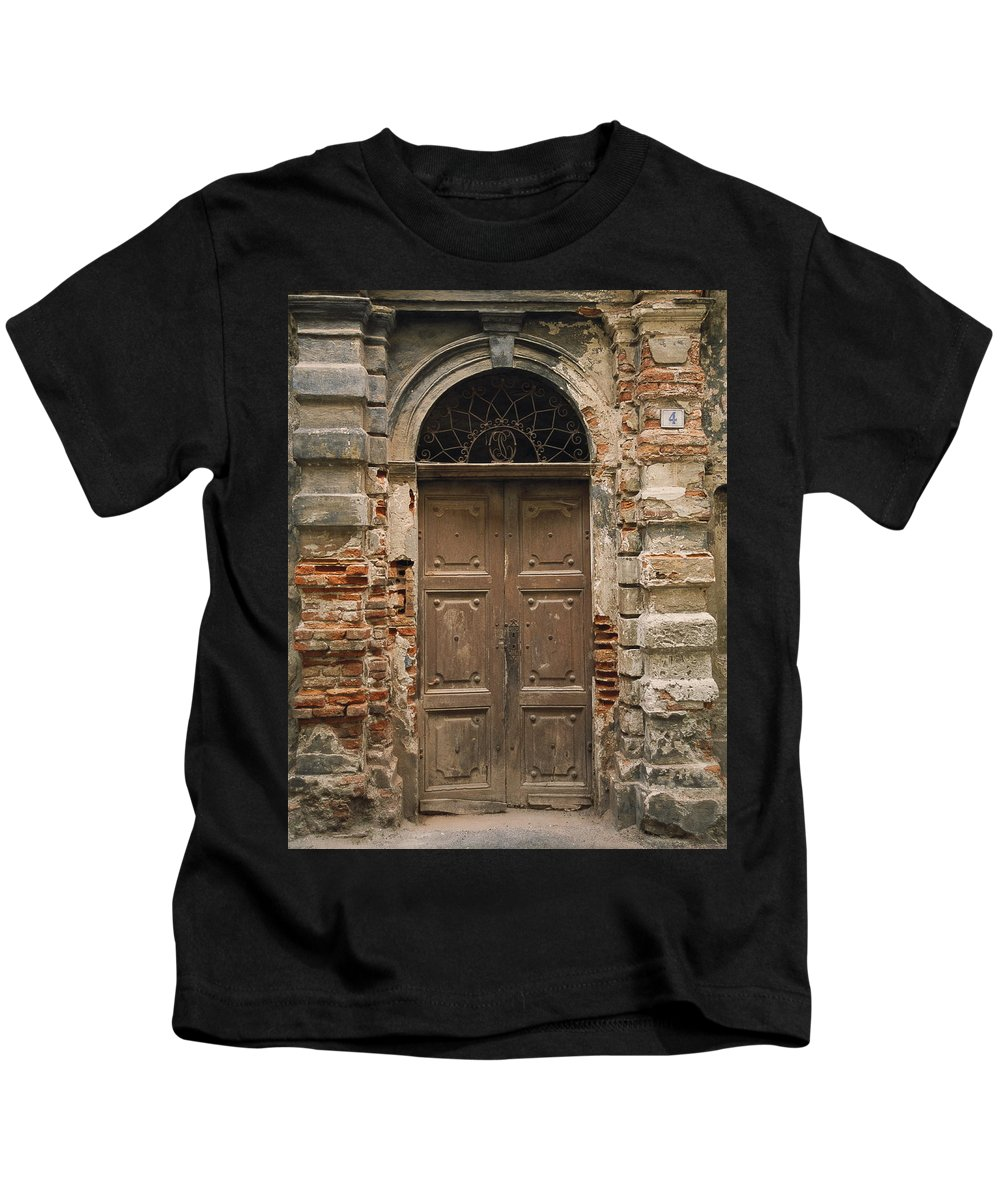 Europe Kids T-Shirt featuring the photograph Italy - Door Four by Jim Benest