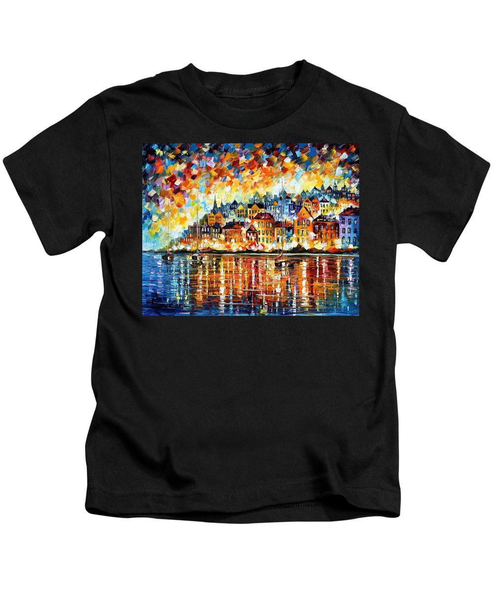 Afremov Kids T-Shirt featuring the painting Italy Harbor by Leonid Afremov