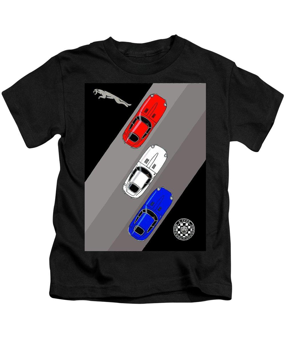 Jaguar Kids T-Shirt featuring the painting Jaguar E-type - 3 Times The Fun by Paul Cockram