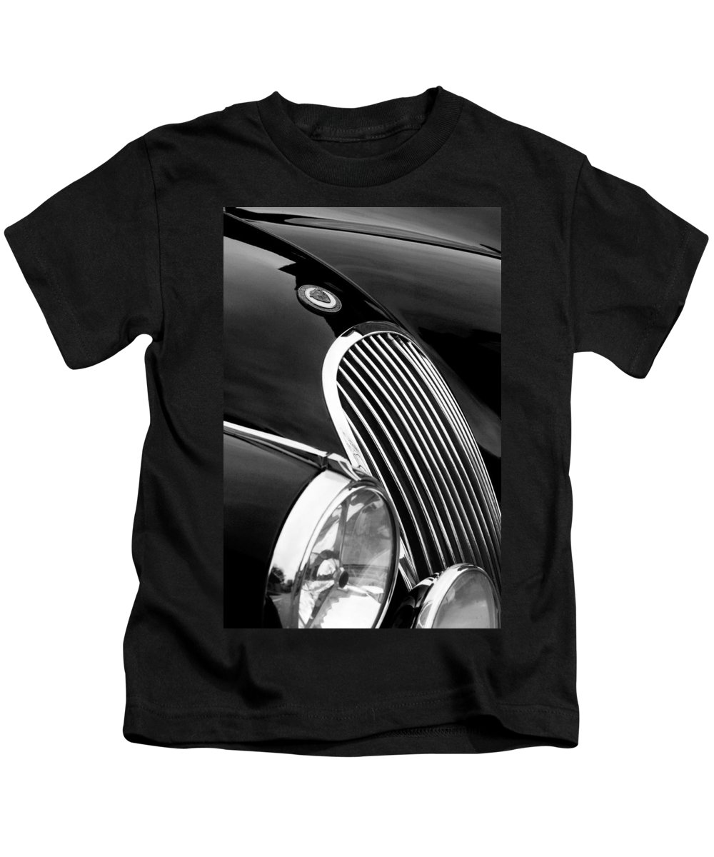Transportation Kids T-Shirt featuring the photograph Jaguar Grille Black And White by Jill Reger