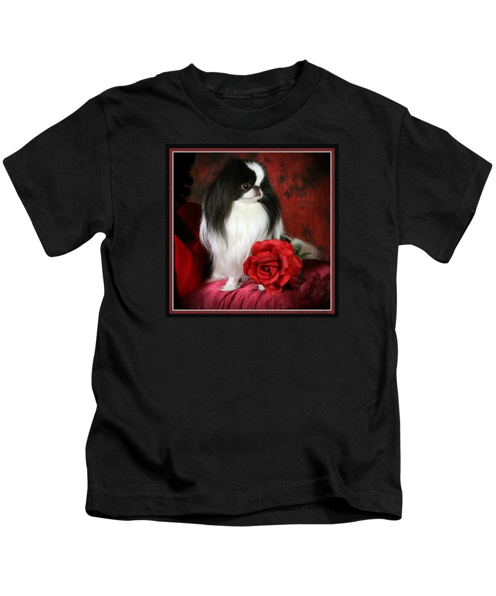 Japanese Chin Kids T-Shirt featuring the pyrography Japanese Chin and Rose by Kathleen Sepulveda