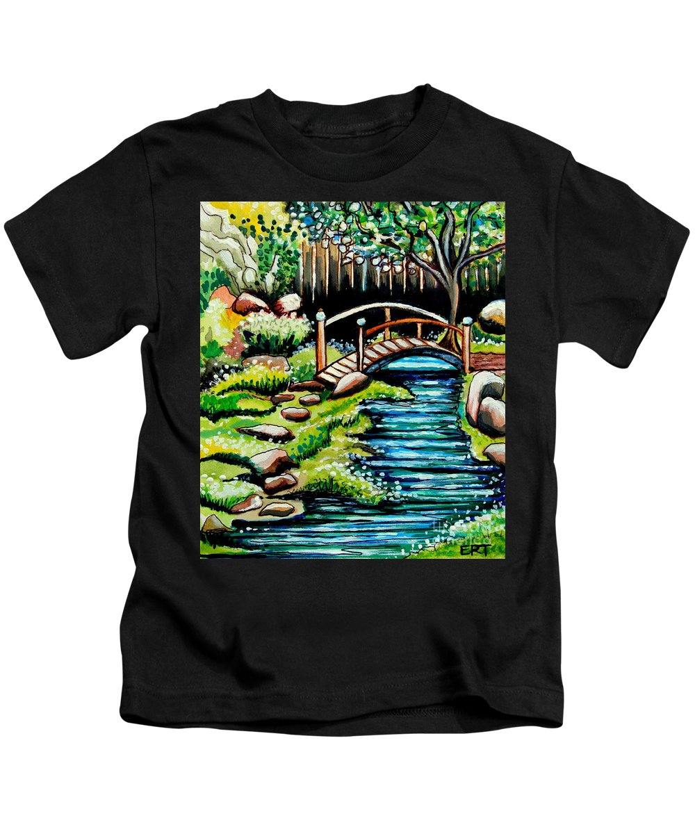 Landcape Kids T-Shirt featuring the painting Japanese Tea Gardens by Elizabeth Robinette Tyndall
