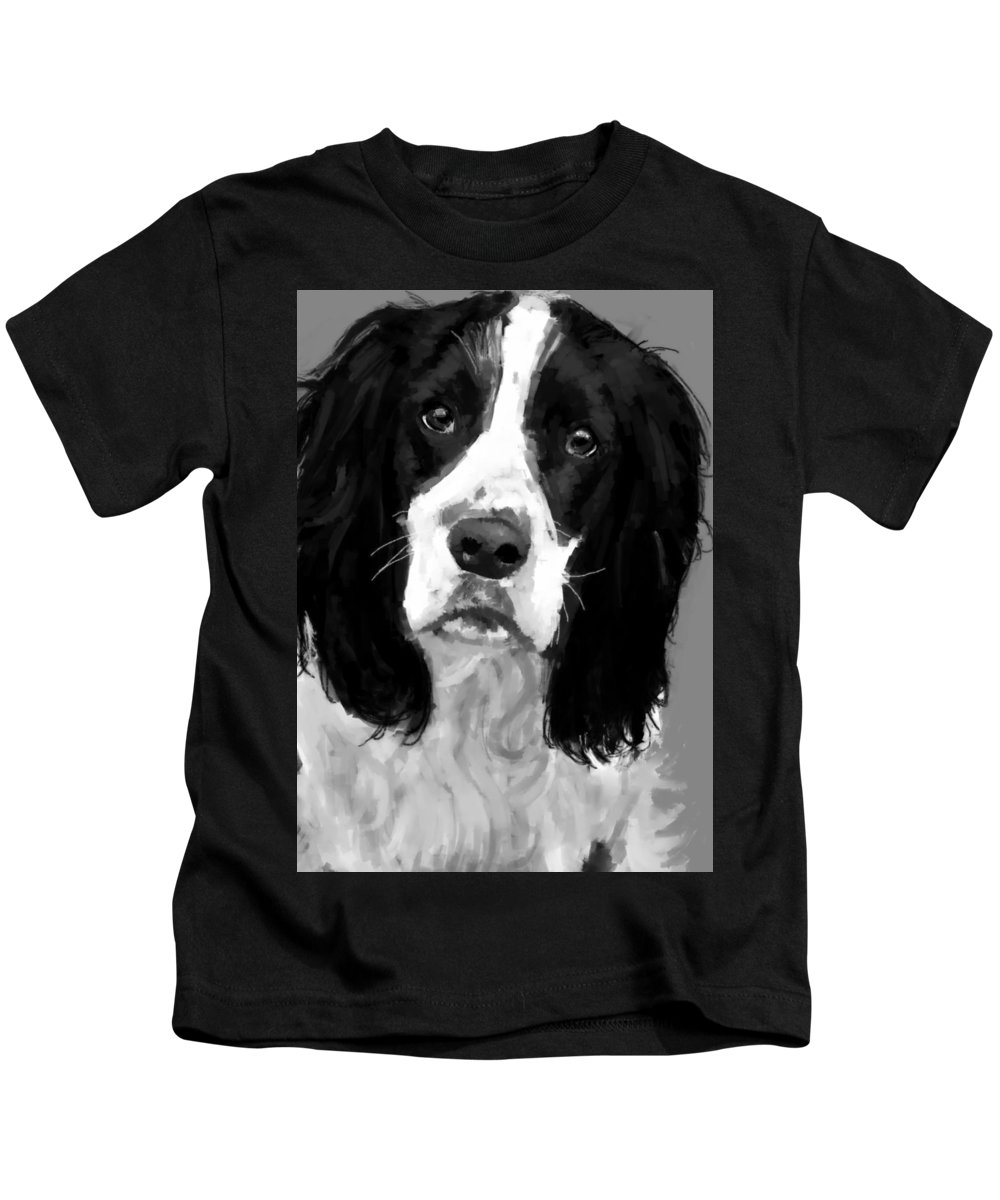 Dog Kids T-Shirt featuring the painting Jasper by John Poh
