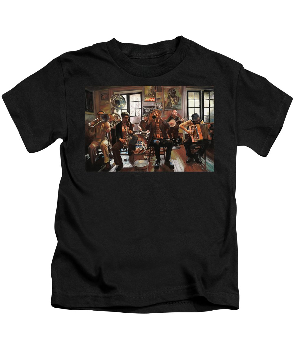 Jazz Kids T-Shirt featuring the painting Jazz A 7 by Guido Borelli