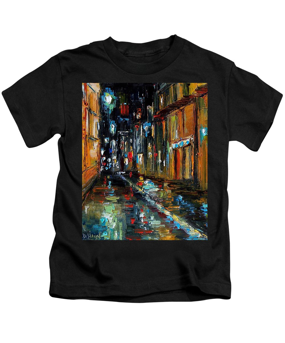 New Orleans Kids T-Shirt featuring the painting Jazz Alley by Debra Hurd