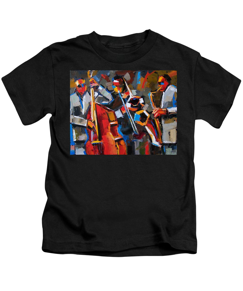 Jazz Kids T-Shirt featuring the painting Jazz Angles by Debra Hurd