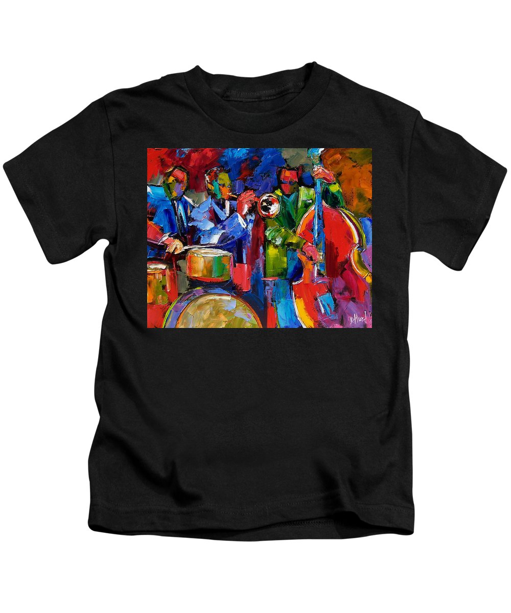 Jazz Kids T-Shirt featuring the painting Jazz Beat by Debra Hurd