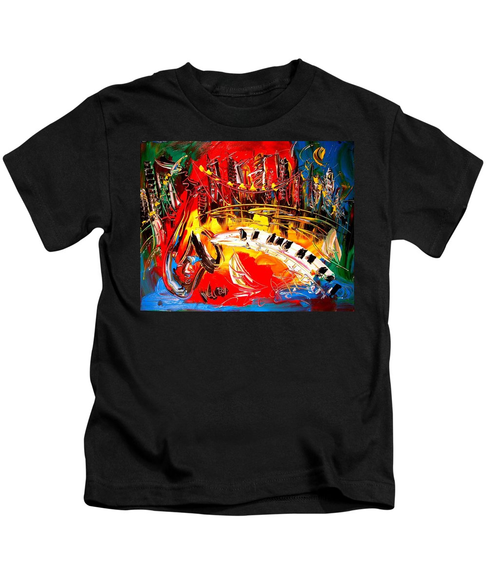 Red Poppies Kids T-Shirt featuring the painting Jazz City by Mark Kazav