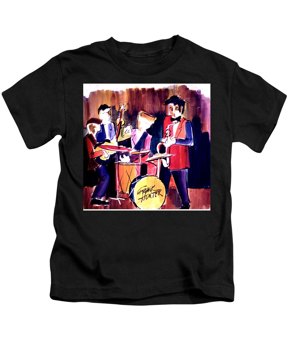 Jazz Band Drum Kids T-Shirt featuring the painting Jazz by Frank Hunter