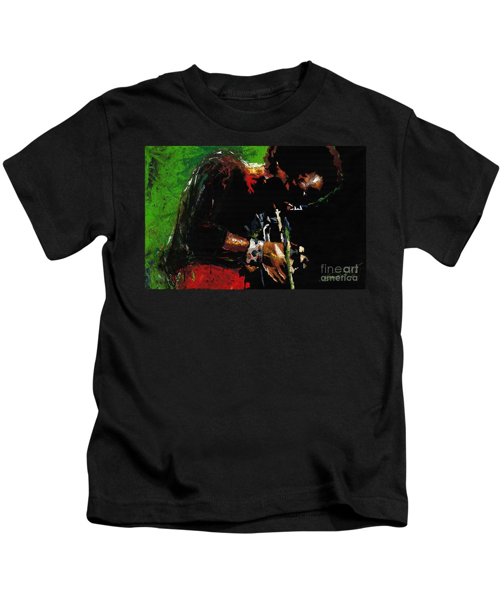 Jazz Kids T-Shirt featuring the painting Jazz Miles Davis 1 by Yuriy Shevchuk