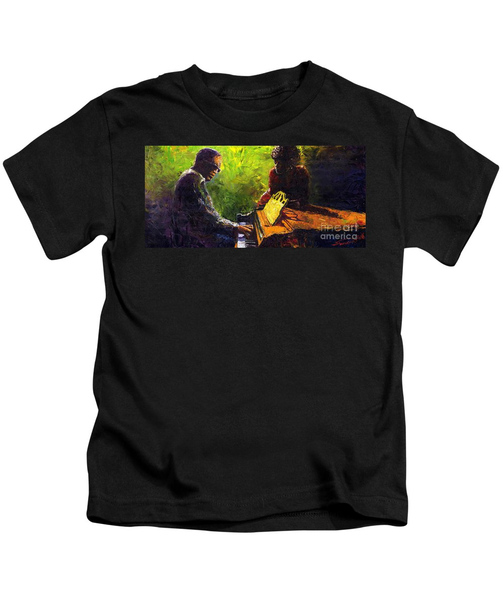 Jazz Kids T-Shirt featuring the painting Jazz Ray Duet by Yuriy Shevchuk