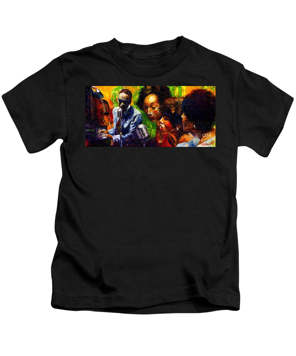 Jazz Kids T-Shirt featuring the painting Jazz Ray Song by Yuriy Shevchuk