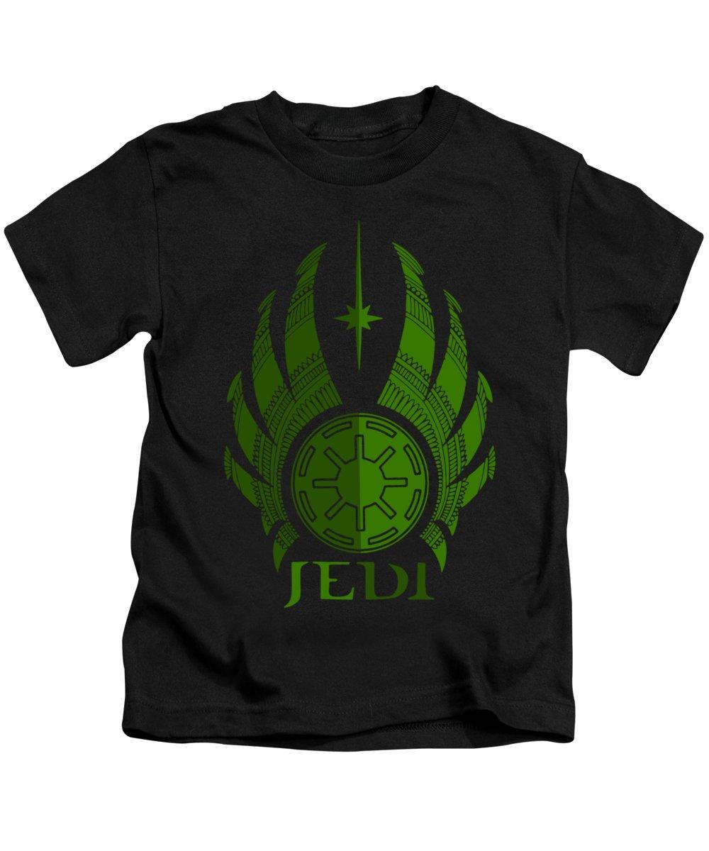 Jedi Kids T-Shirt featuring the mixed media Jedi Symbol - Star Wars Art, Green by Studio Grafiikka