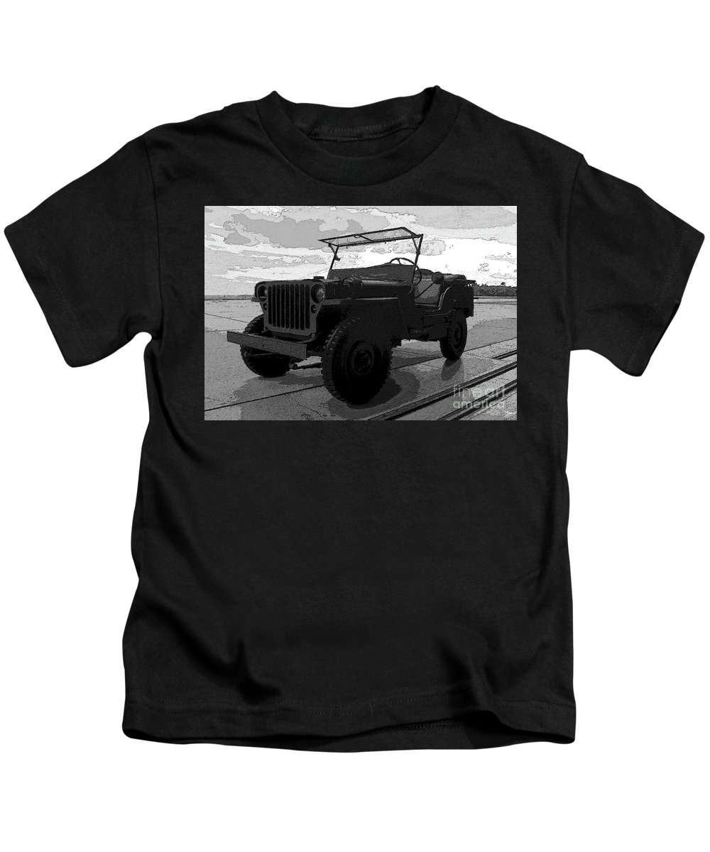 Art Kids T-Shirt featuring the painting Jeep by David Lee Thompson