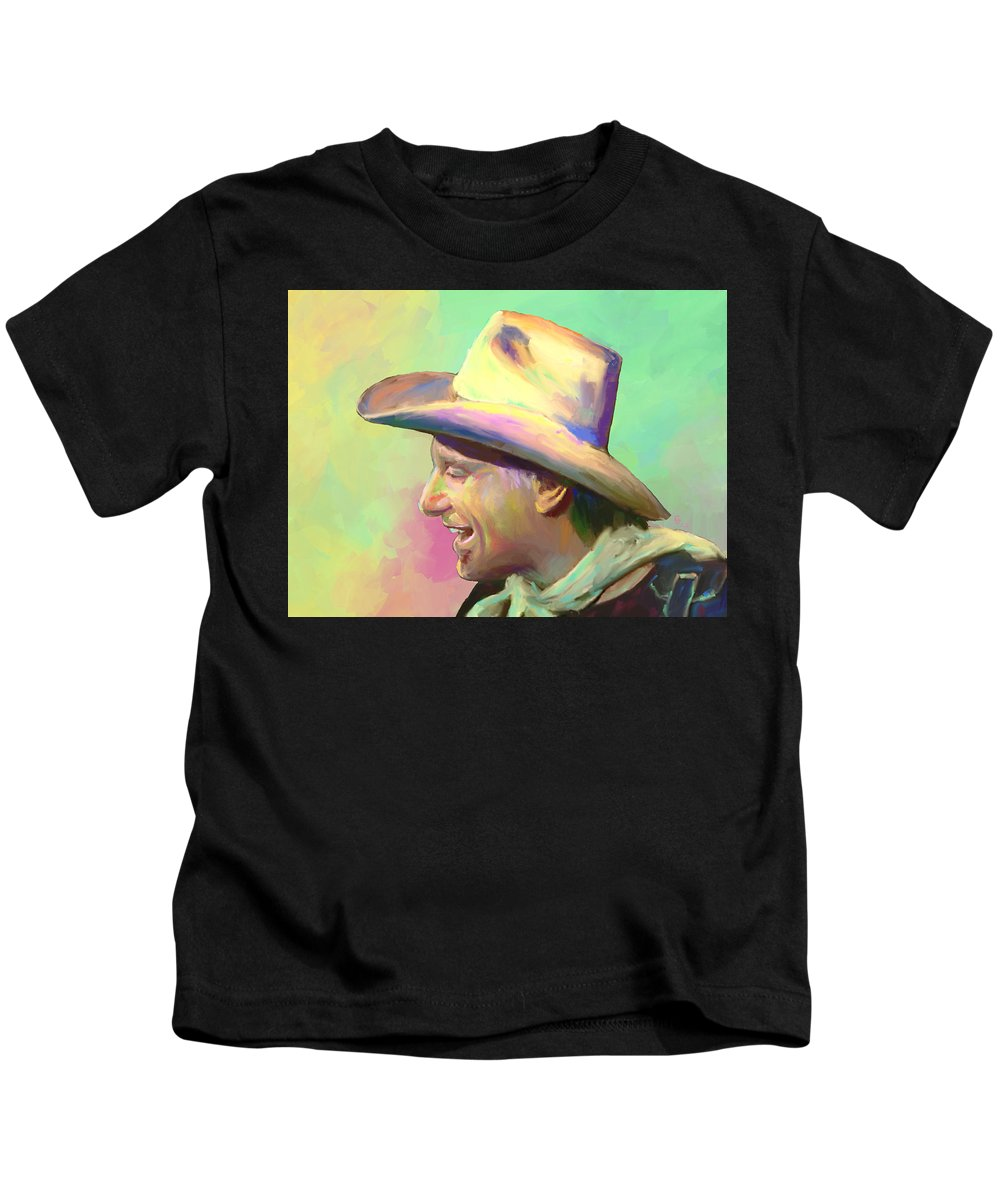 Jerry Jeff Walker Kids T-Shirt featuring the mixed media Jerry Jeff The Gypsy Songman by G Cannon