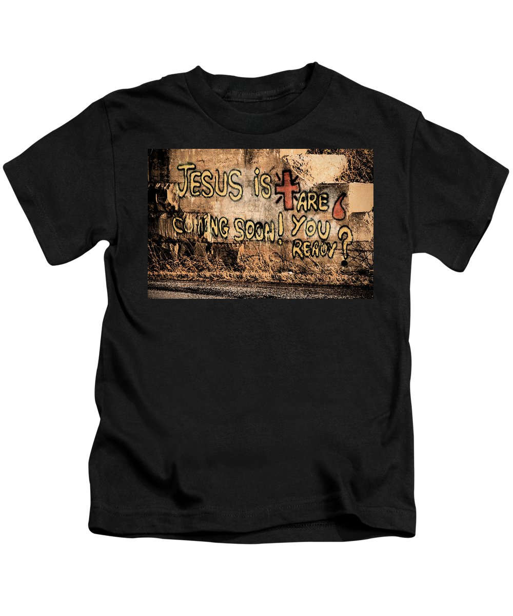 Jesus Kids T-Shirt featuring the photograph Jesus Is Coming Soon by David Arment