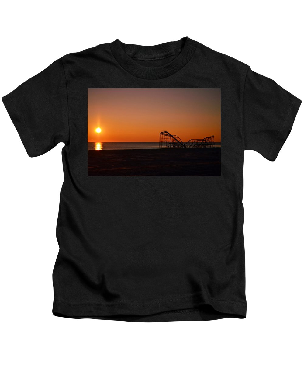 Seaside Heights Kids T-Shirt featuring the photograph Jet Star Rollercoaster Sunrise by Bob Cuthbert